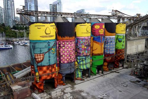 هنر خیابانی بروی سیلوهای عظیم الجسه ونکوور کانادا