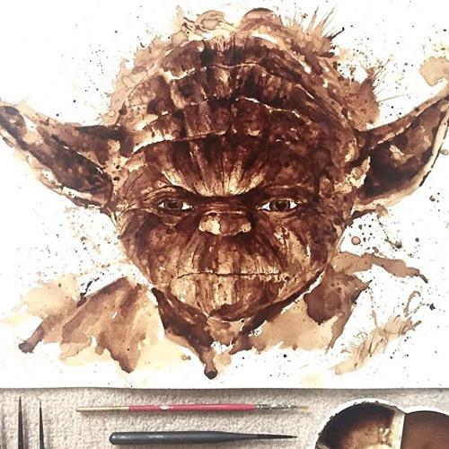 نقاشی خلاقانه بروی بوم بوسیله قهوه