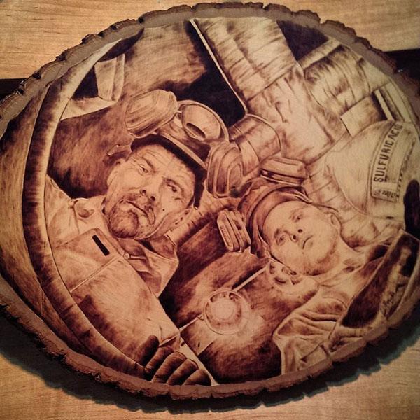 حکاکی بروی چوب از کاراکترهای مشهور - ریک مریان