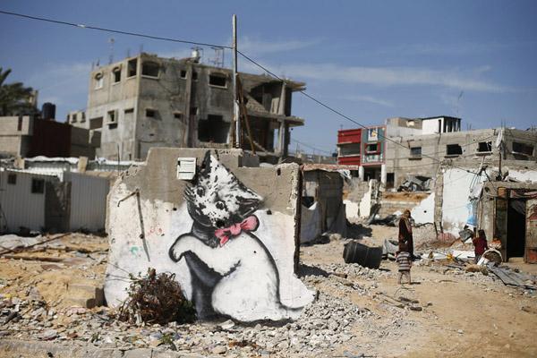 آثار بنکسی بروی دیوارهای غزه